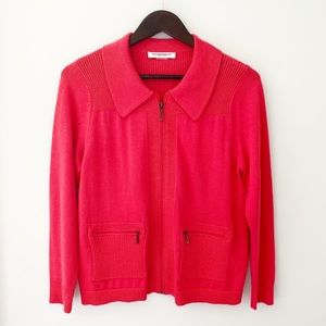 Allison Daley Red/Orange Zip Up Women's Cardigan